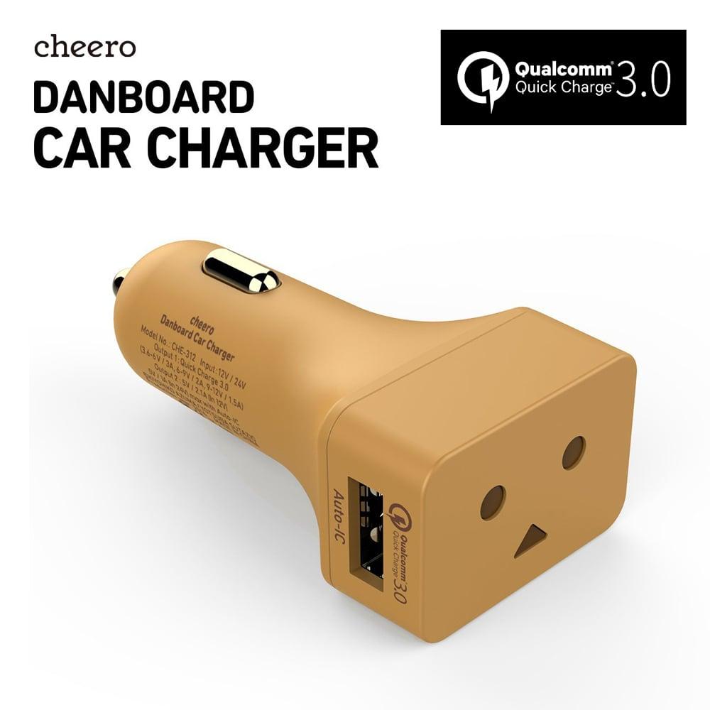 cheero阿愣QC3.0 USB雙輸出汽車充電器