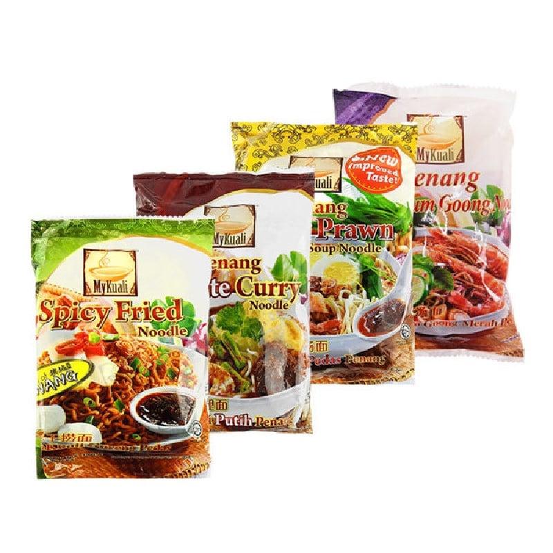 馬來西亞Mykuali檳城白咖哩湯麵*4組+紅酸辣湯麵*4組+乾撈麵*4組(共12組)