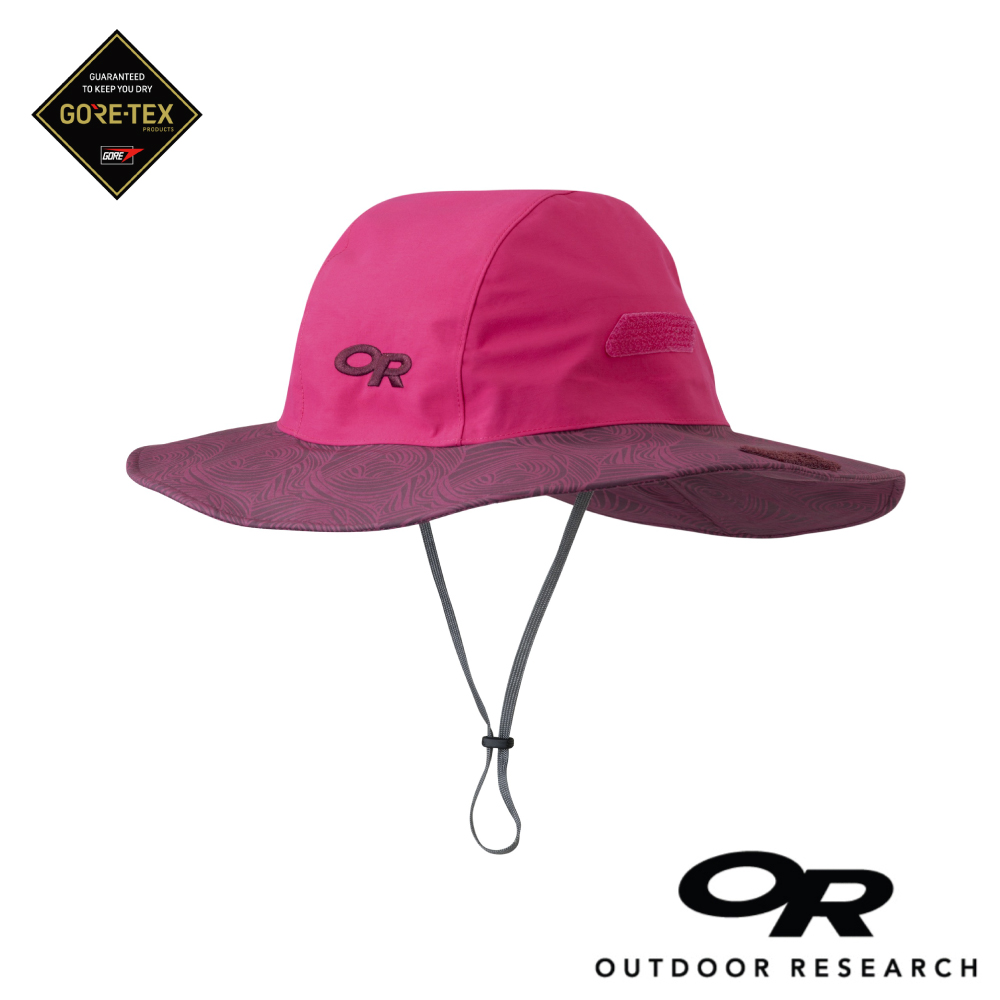 【美國Outdoor Research】螢光紅XL-條紋款防水透氣防曬可折疊遮陽帽