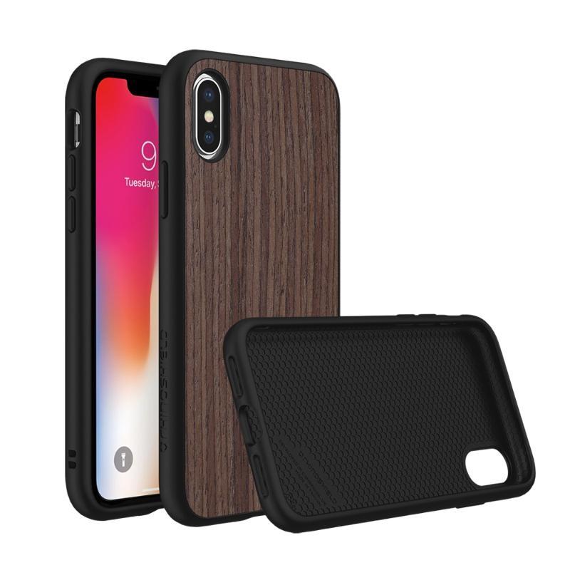 犀牛盾iPhoneX SolidSuit 防摔手機殼 黑色/胡桃木紋-棕色