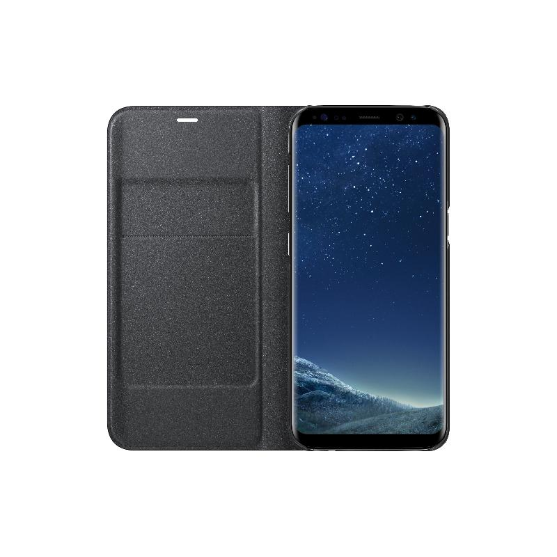 SAMSUNG Galaxy S8 LED皮革翻頁式皮套 黑色