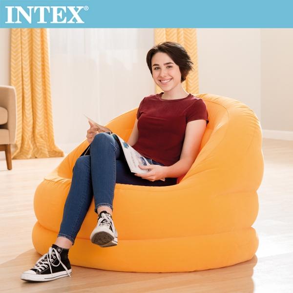 【INTEX】超大貝殻充氣沙發椅-亮桔色(68577)