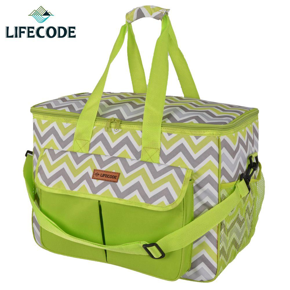 【LIFECODE】香頌野餐保冰袋/保溫袋-綠色