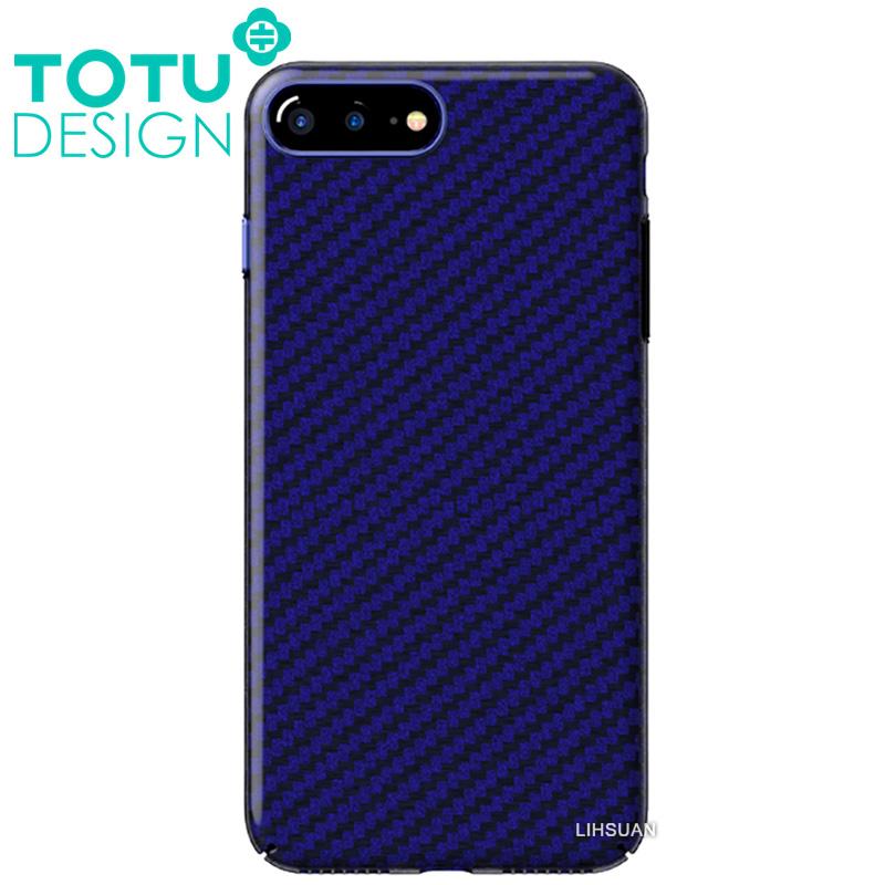 【TOTU台灣官方】iPhone8Plus碳纖紋手機殼 雅典娜系列 藍色