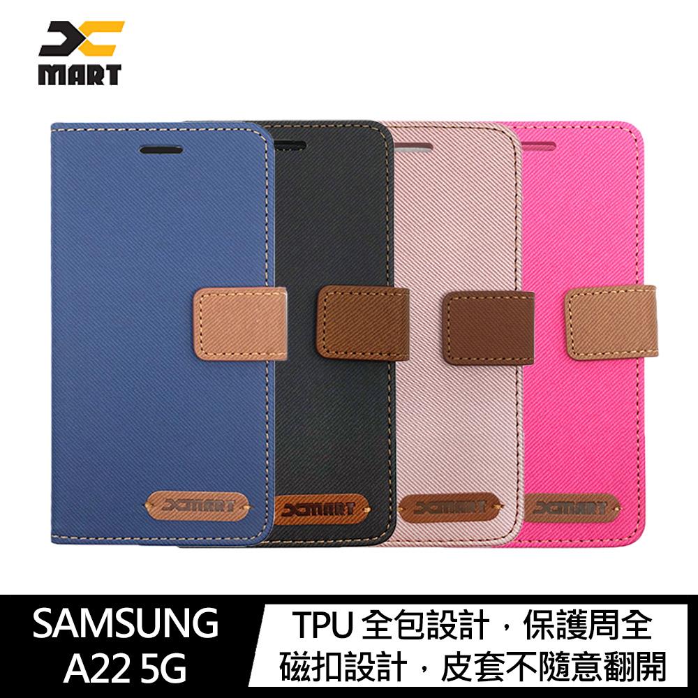XMART SAMSUNG Galaxy A22 5G 斜紋休閒皮套(藍色)