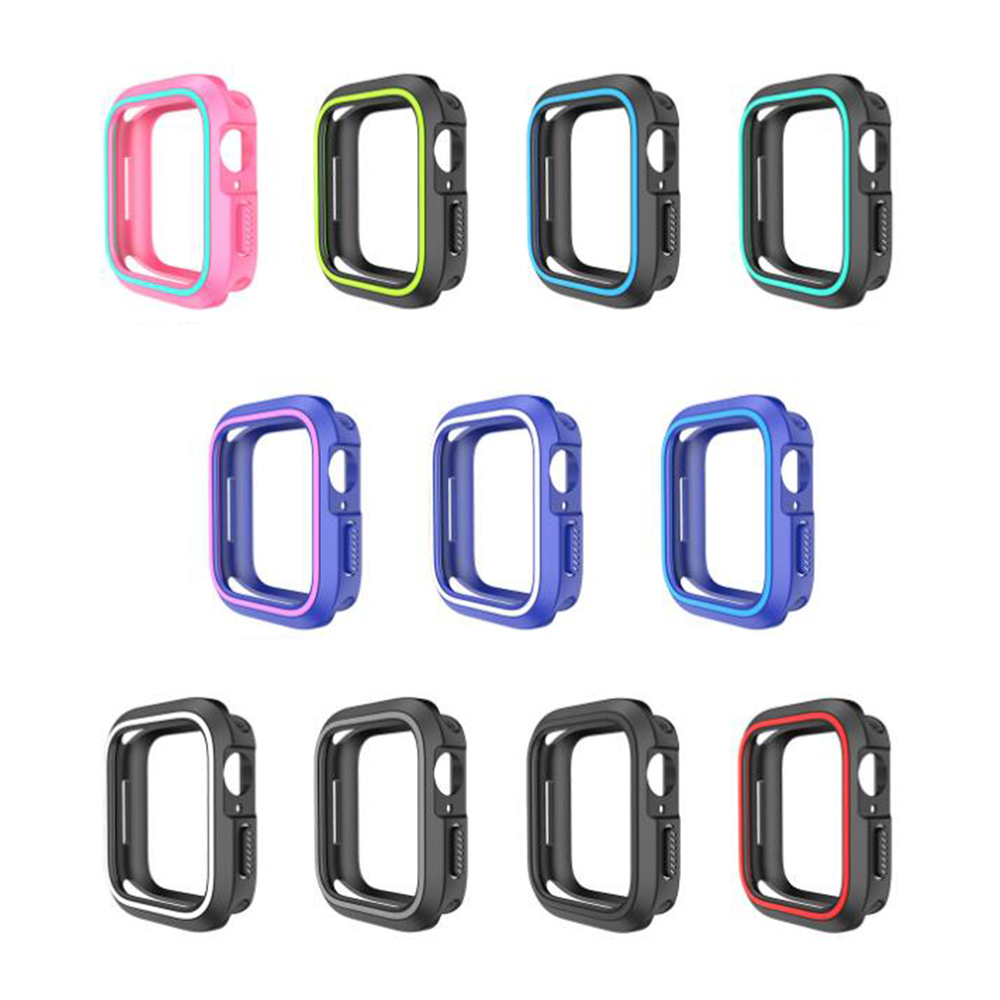 QinD Apple Watch 雙色矽膠保護套(42mm)(黑藍)