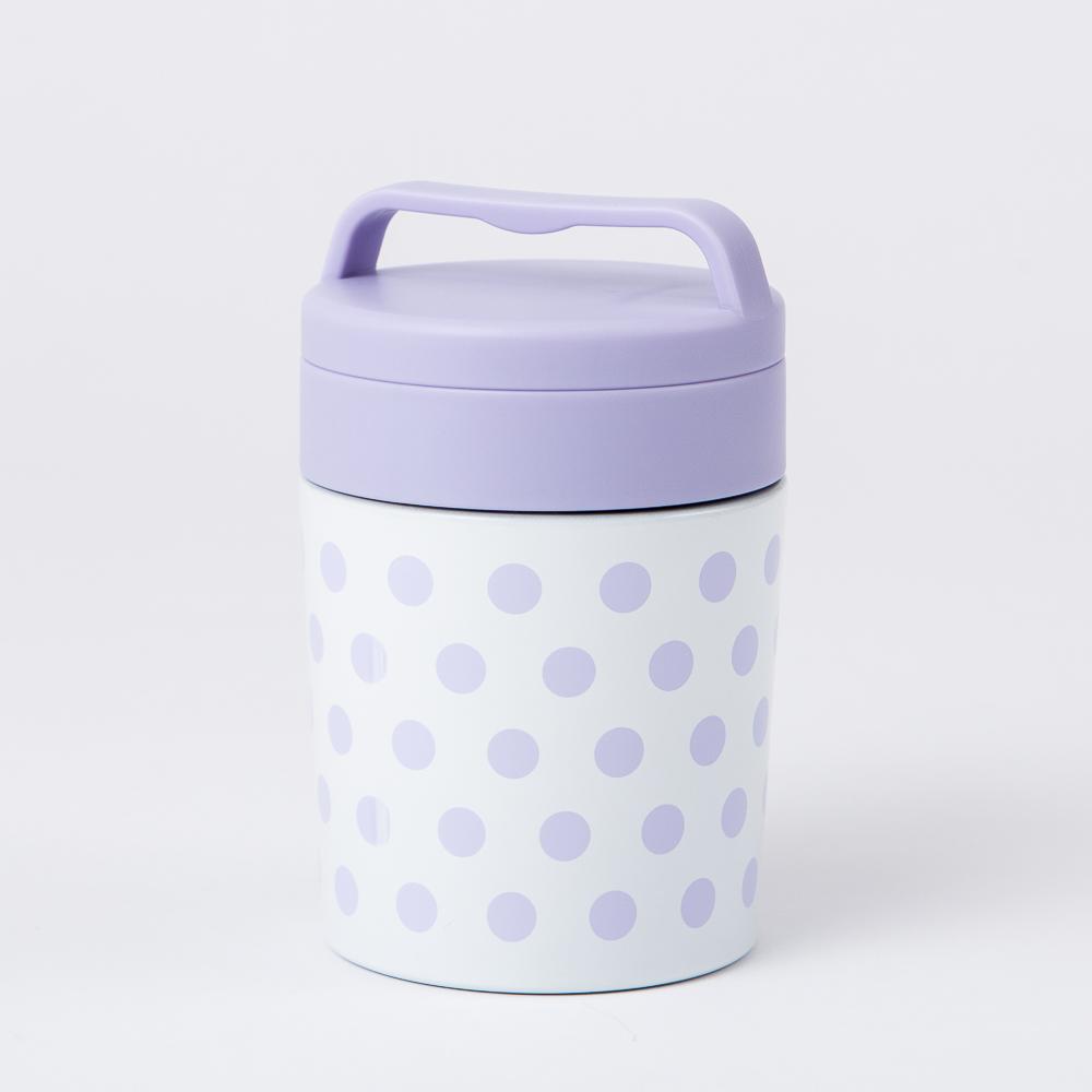 優雅紫點保溫湯杯300ML-生活工場
