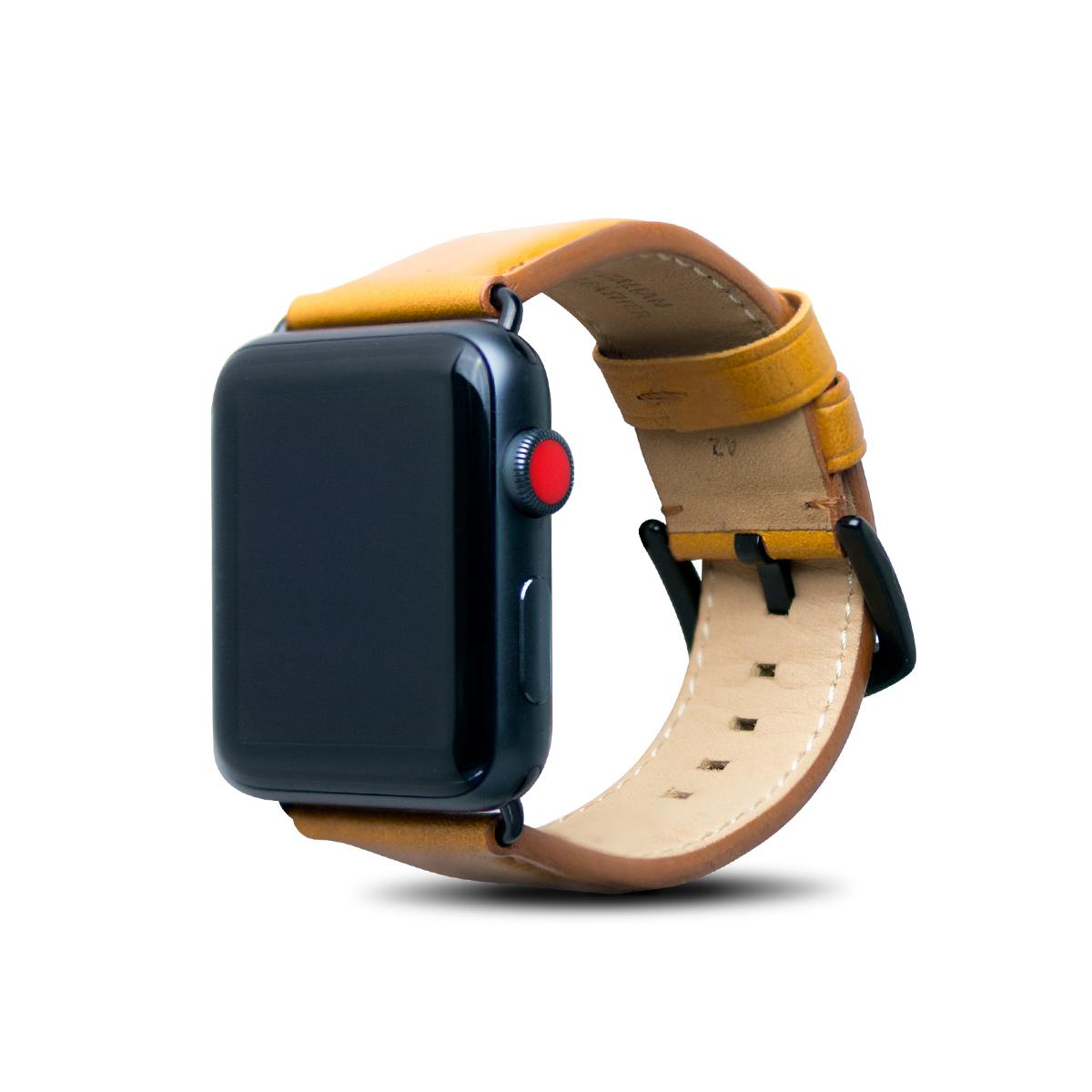 Apple Watch 44/42mm 皮革錶帶 - 焦糖棕