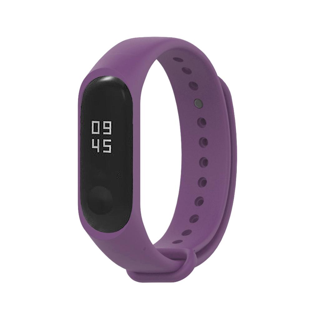 小米手環5代/4代/3代通用 矽膠運動替換錶帶-紫色