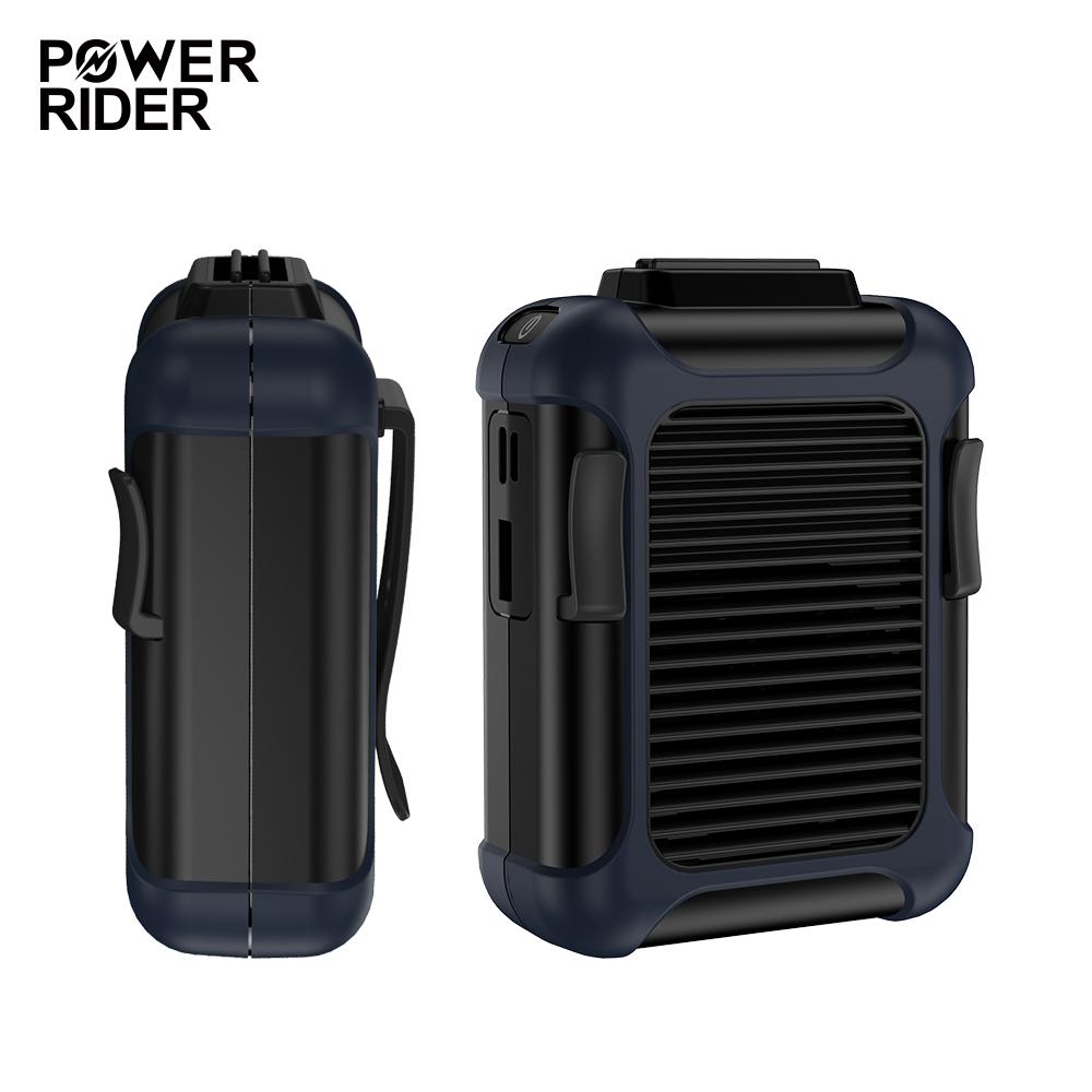 PowerRider 上吹式腰掛/掛脖隨身小風扇(附掛繩)-黑藍