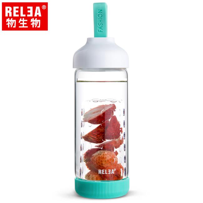 買1送1【香港RELEA物生物】500ml水果鮮飲玻璃杯(薄荷藍)贈送款顏色隨機出貨