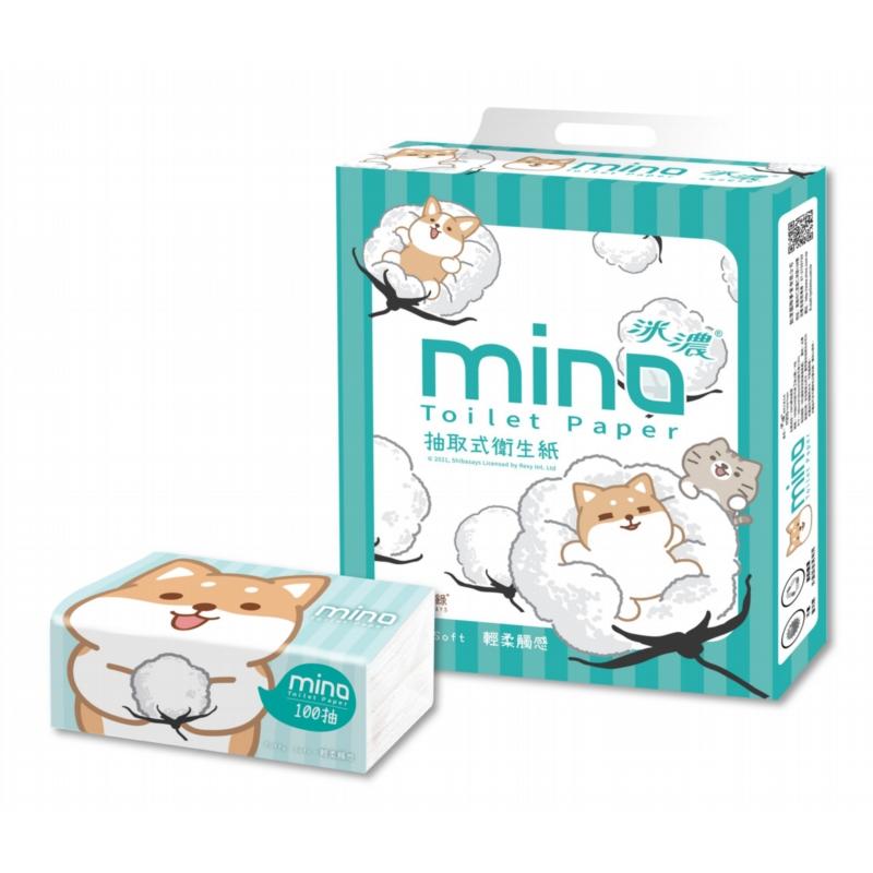 MINO洣濃柴語錄抽取式花紋衛生紙100抽x64包/箱