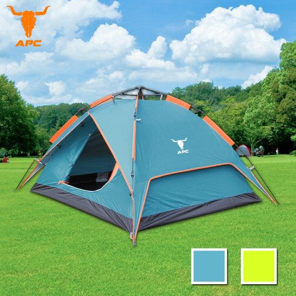 APC-《立可搭》3-4人抗紫外線雙層速搭帳篷-彈簧款(二用帳篷)-孔雀藍