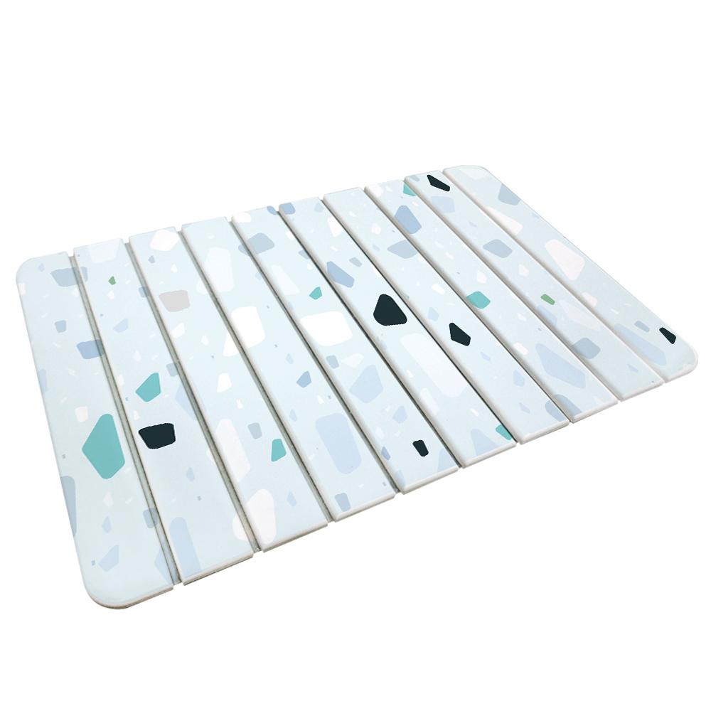 【收納王妃】(磨石子-藍)-自然風 折疊式珪藻土超吸水地墊60*39