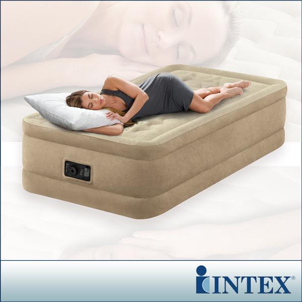 【INTEX】超厚絨豪華單人加大充氣床-寬99cm (內建電動幫浦)fiber-tech新型(64455)