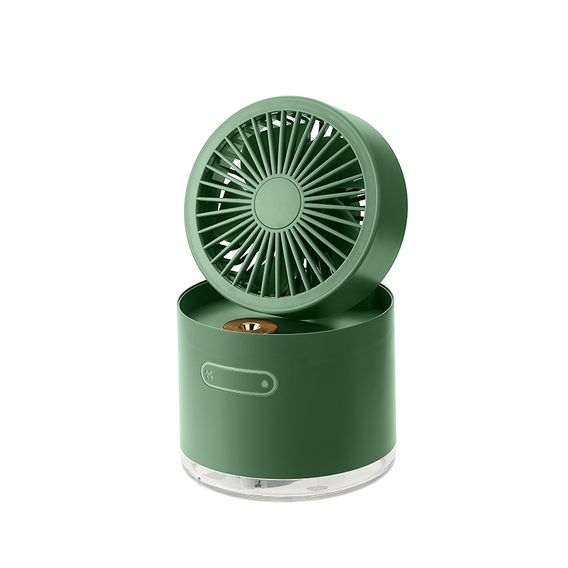 【HBLINK】可摺疊旋轉 加濕隨身風扇 - 綠