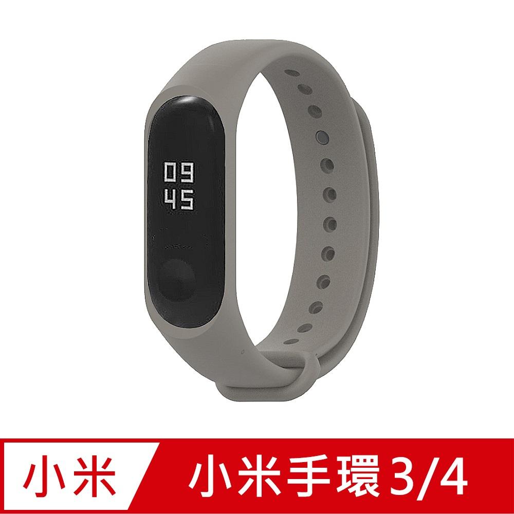 小米手環4代/3代通用 矽膠運動替換錶帶-卡其色