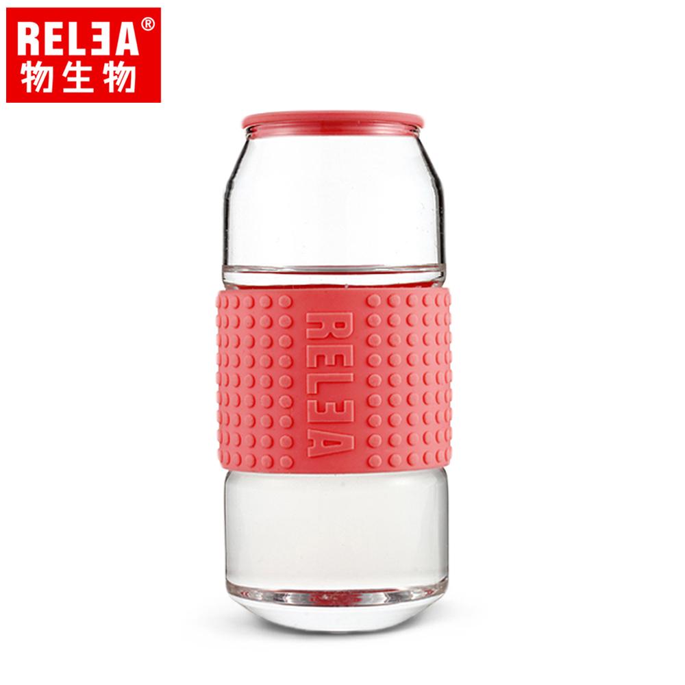 買1送1【香港RELEA物生物】450ml耐熱玻璃帶蓋可樂杯(櫻桃粉)贈送款顏色隨機出貨