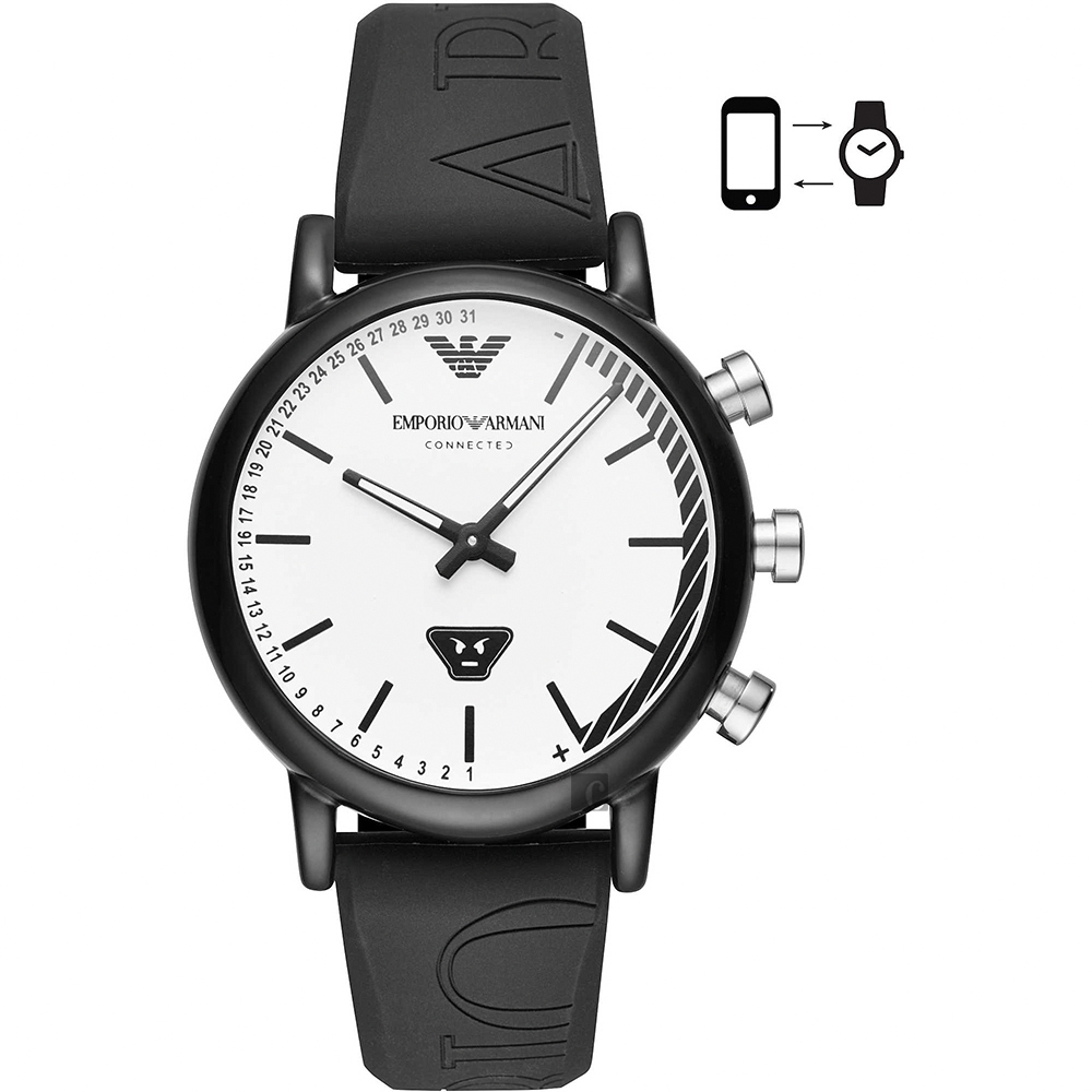 Emporio Armani Connected 運動風指針式智慧錶-黑/42mm ART3022