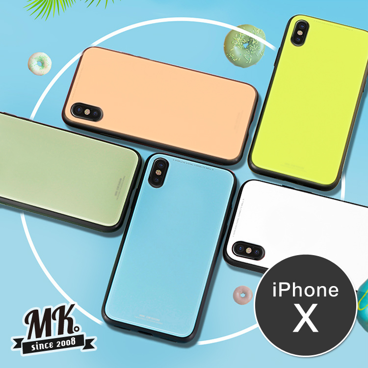【送鋼化膜】iPhoneX 5.8吋 馬卡龍玻璃保護殼 彩色手機殼 9H鋼化玻璃背板 -天空藍