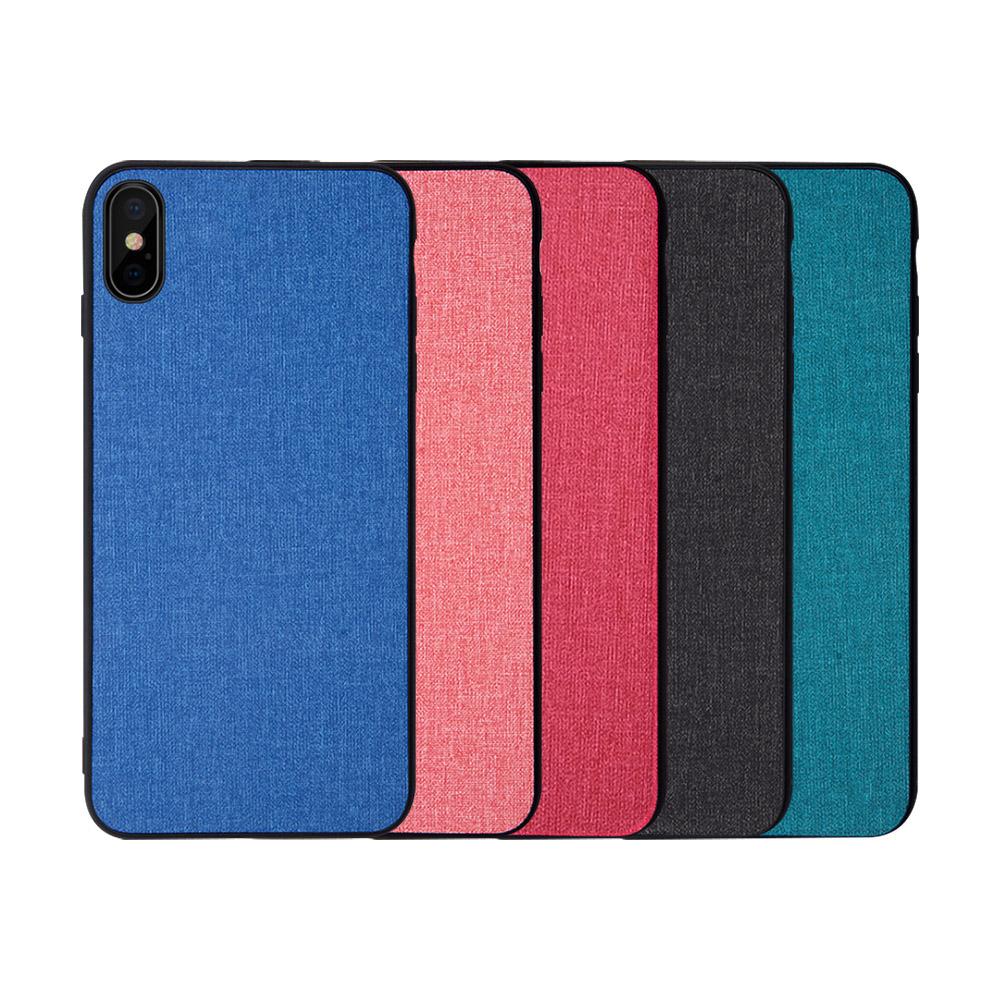 QinD Apple iPhone Xs Max 布藝保護套(格調藍)