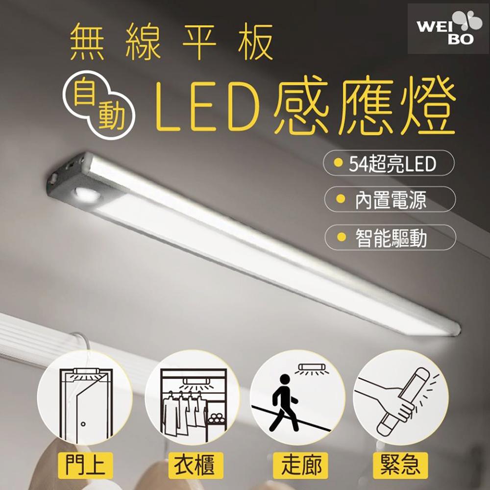 WEI BO原廠 磁吸式無線平板自動感應燈 內置54顆LED燈- (32.3公分 (內置裡聚合物電池免牽線 )萬用燈