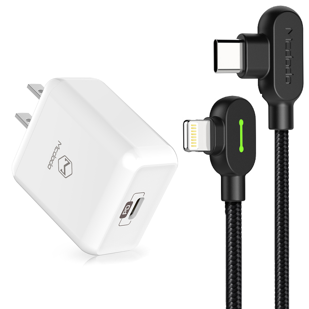 【Mcdodo台灣官方】PD/Lightning/TypeC/iPhone充電線充電器充電頭快充頭快充線 彎頭 LED 1.2M 麥多多 白色充電頭+黑色充電線