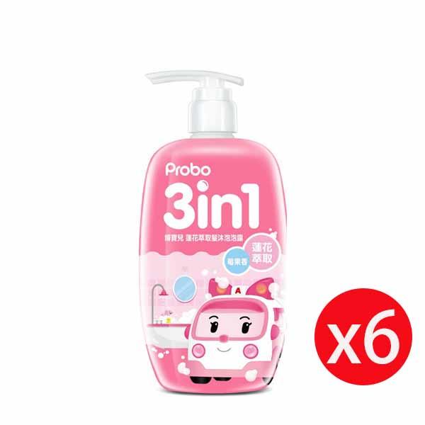 博寶兒蓮花萃取洗髮沐浴泡泡露-POLI 安寶(粉)莓果香500ml*6瓶