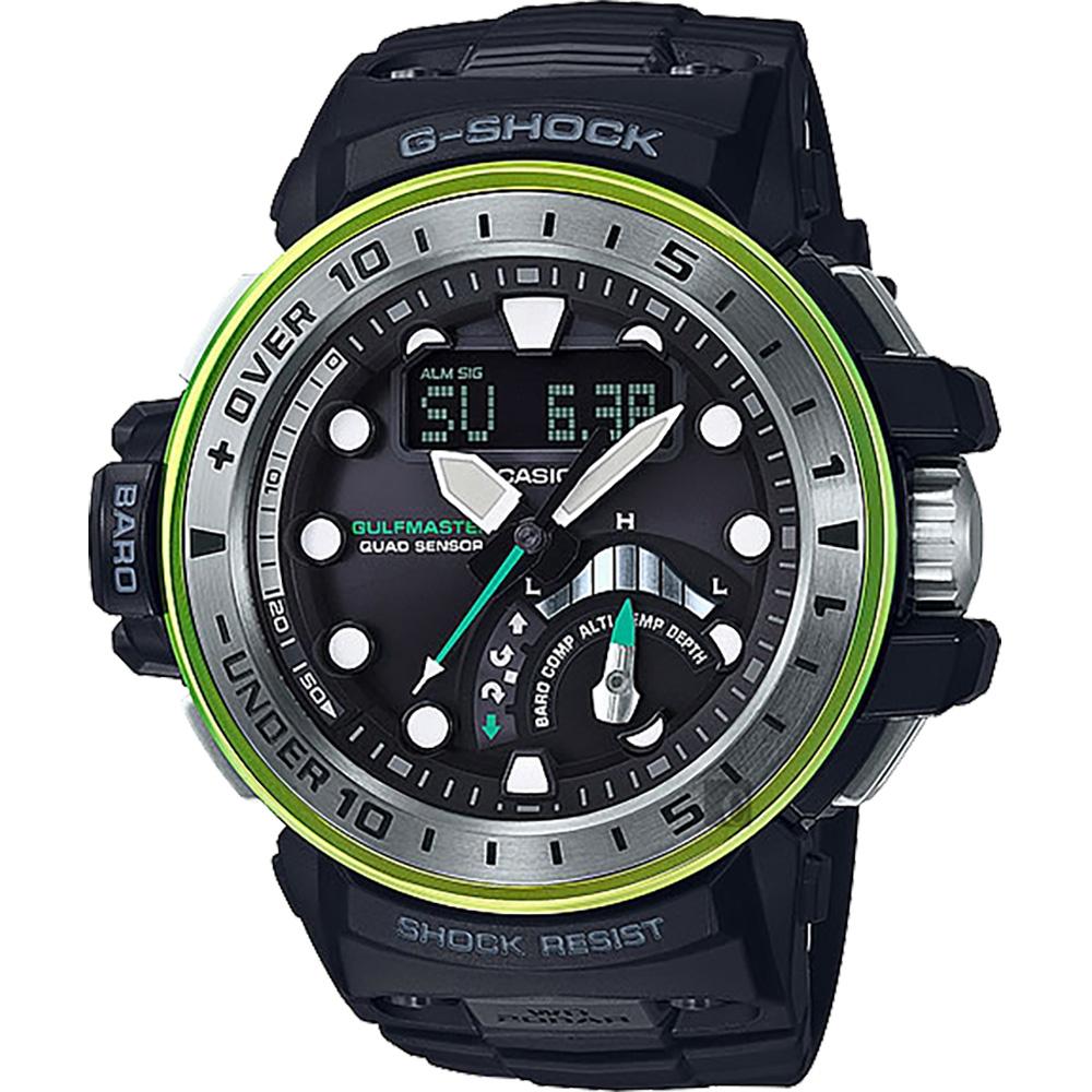 CASIO卡西歐 G-SHOCK MASTER 海底珊瑚電波錶-翡翠綠/57.3mm GWN-Q1000MB-1A