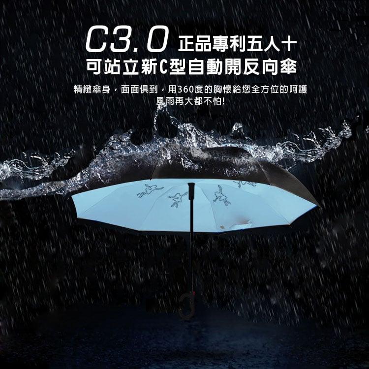 正品專利(五人十)C3.0 可站立新C型自動開反向傘-藍色