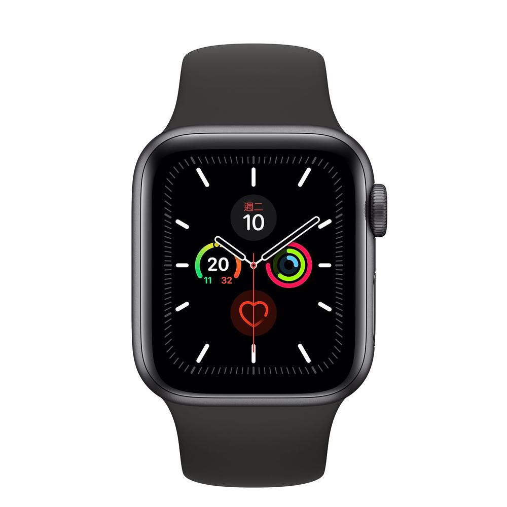 Apple Watch S5 GPS版 44mm太空灰鋁錶殼黑色運動錶帶MWVF2TA