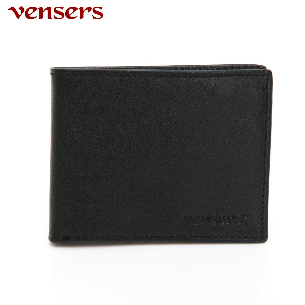 【vensers】小牛皮潮流個性皮夾~(NB0154803黑色短夾)