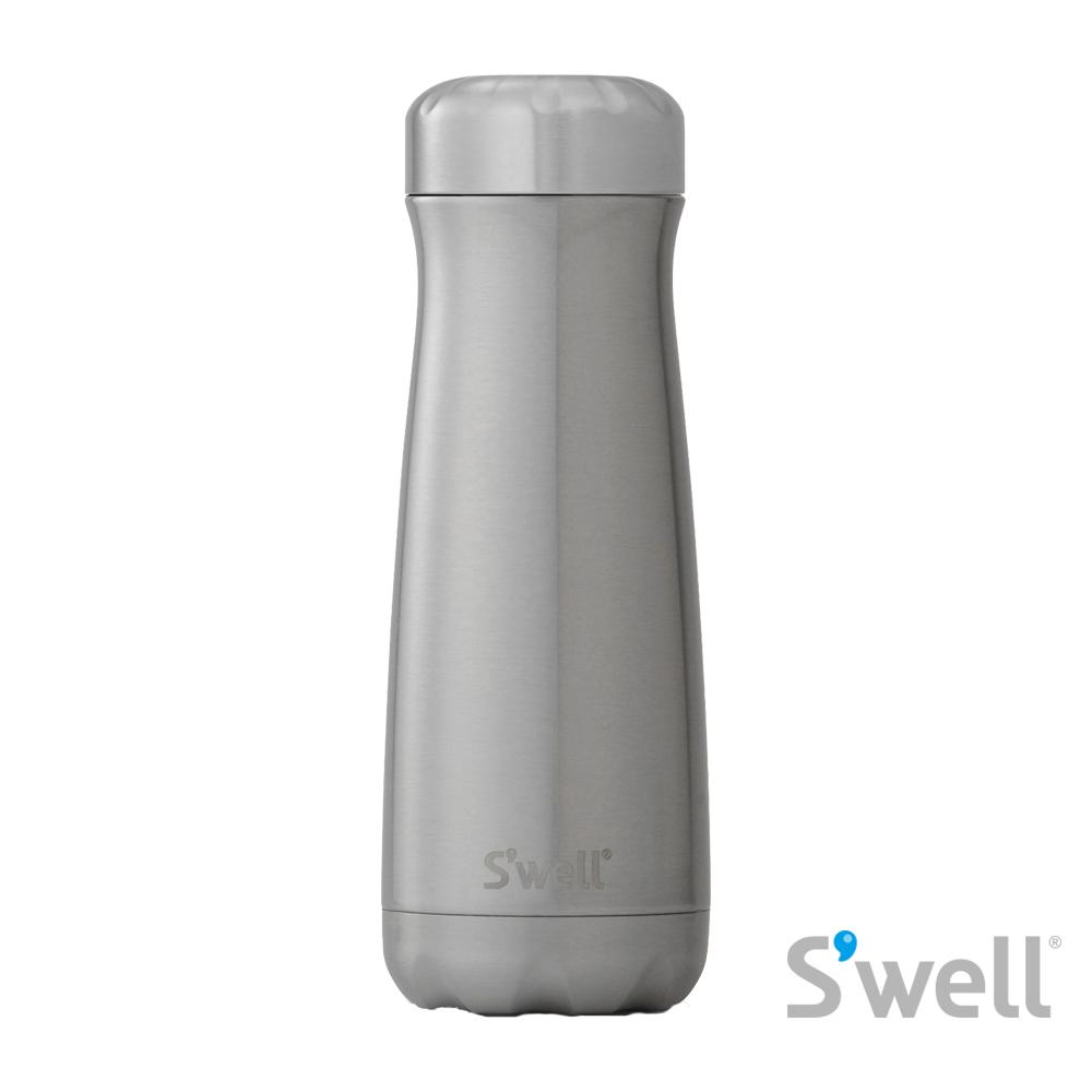 【S'well】紐約時尚不鏽鋼保冷保溫瓶-Traveler系列 Silver Lining 20oz(590ml)