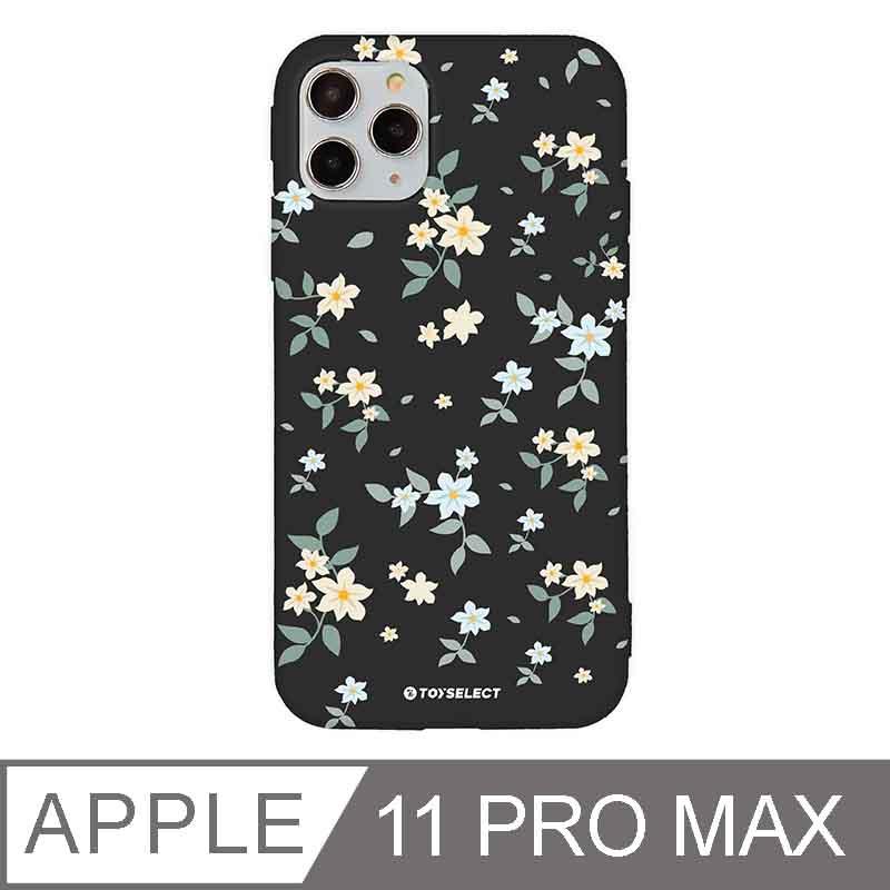 iPhone 11 Pro Max 6.5吋 花言花語Flower Series設計iPhone手機殼 文藝栀子花 神秘黑