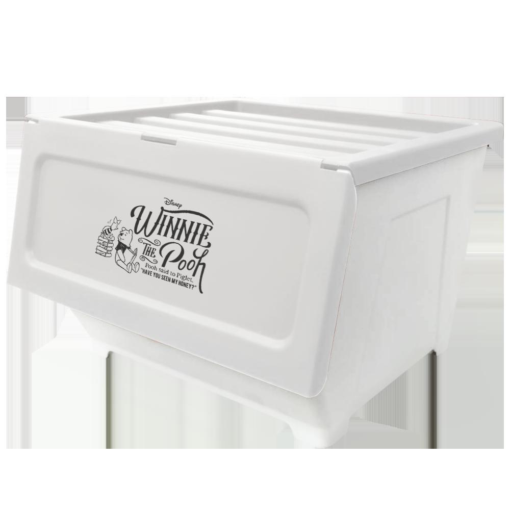 【收納王妃】迪士尼維尼小豬防塵收納箱讀書款(40L/4入組)-白色