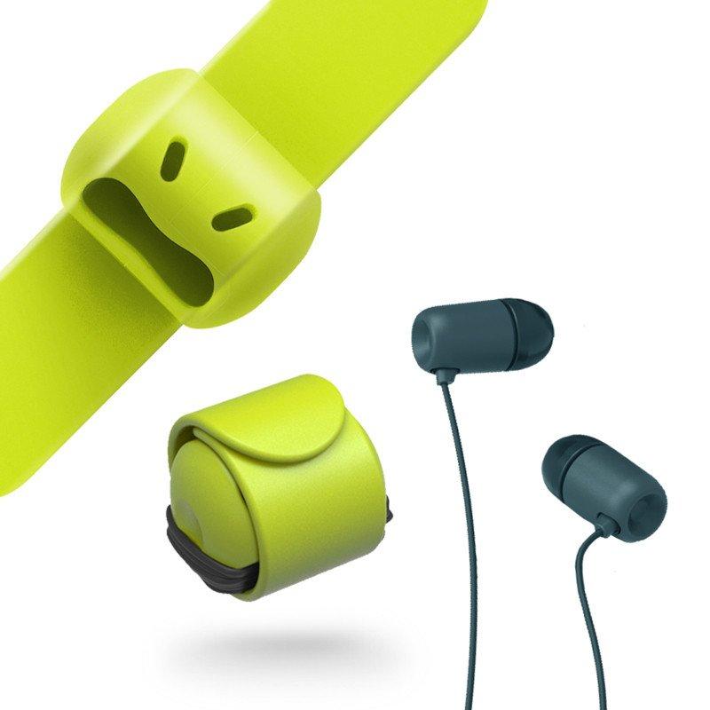 【台灣 MOOY】Snappy WOW 耳機捲線器-萊姆綠 2入組