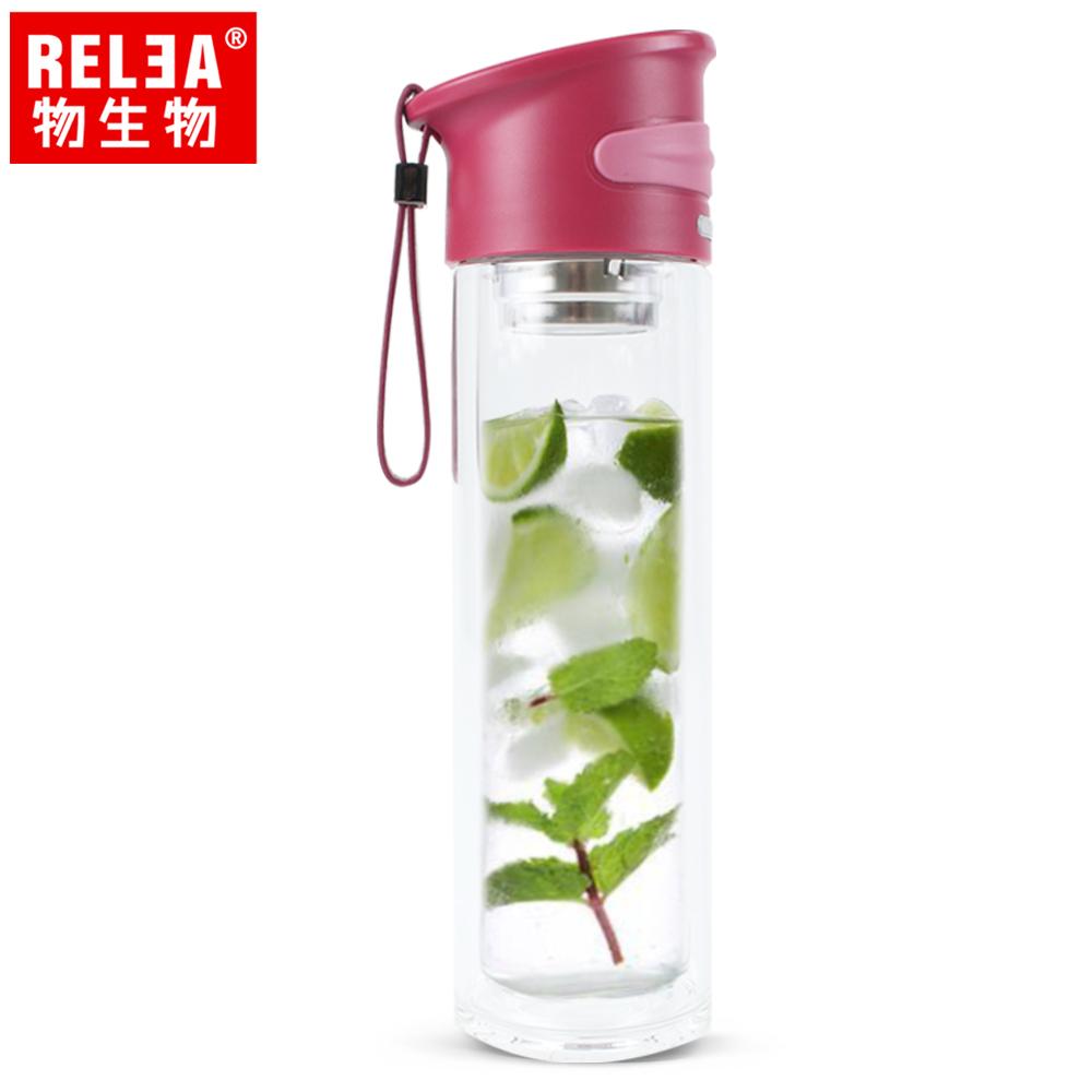 【香港RELEA物生物】350ml學士雙層玻璃杯(哲理紅)