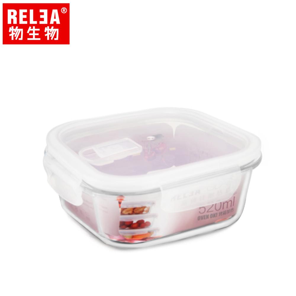 【香港RELEA物生物】520ml正方形耐熱玻璃微波保鮮盒