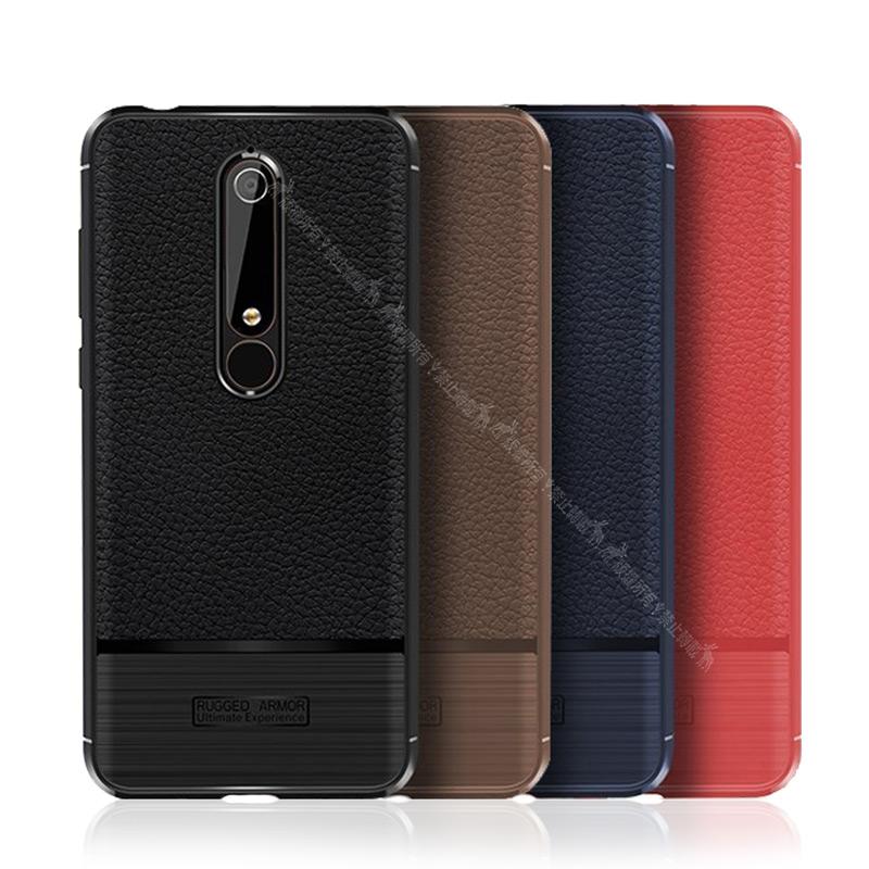 VXTRA 全新 Nokia 6 (2018)/Nokia 6.1 防滑手感皮紋 軟性手機殼 (純黑)
