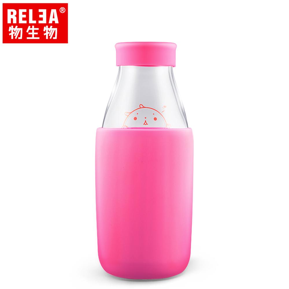 買1送1【香港RELEA物生物】400ml耐熱玻璃帶蓋牛奶杯(玫瑰粉)贈送款顏色隨機出貨