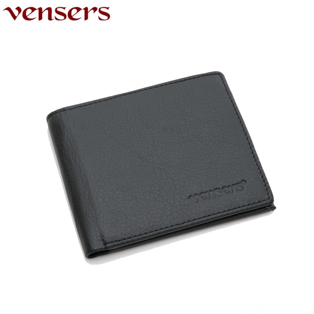 【vensers】小牛皮潮流個性皮夾(NB5302813黑色短夾)