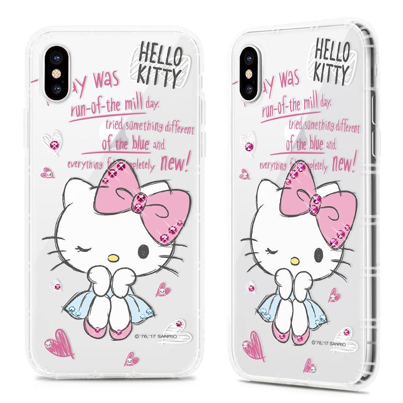 Hello Kitty 貼鑽保護軟殼iPhoneX 甜心