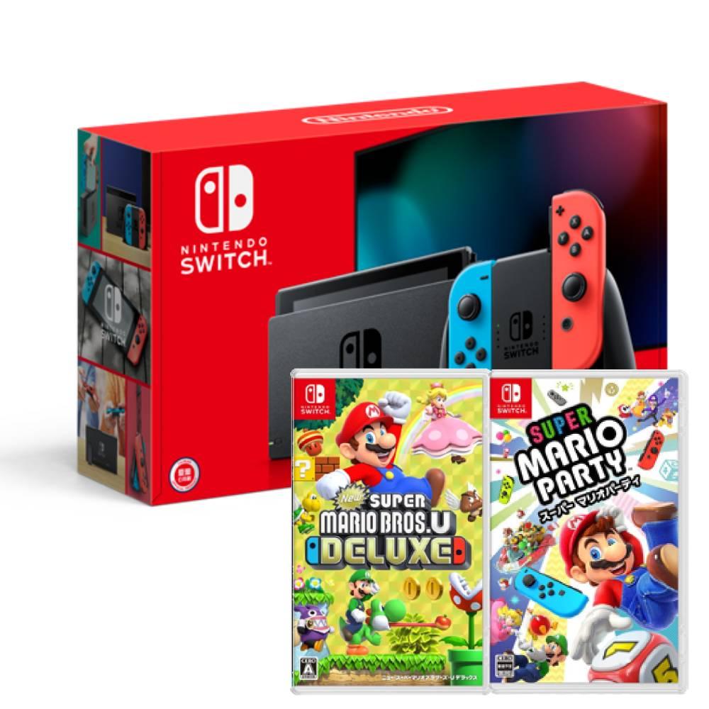 【預購】Nintendo Switch主機電光紅藍(電池加強版)+超級瑪利歐兄弟U中文豪華版+超級瑪利歐派對亞版中文版