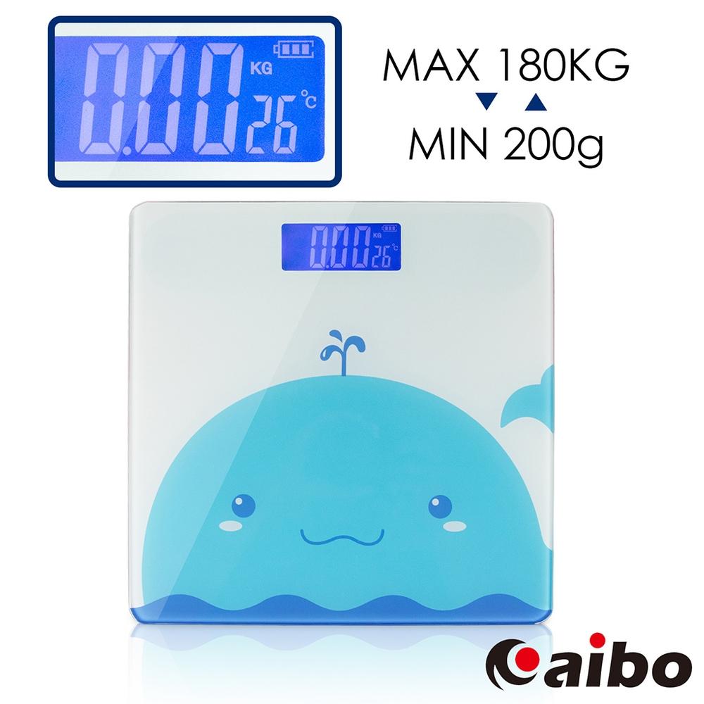 USB充電式 輕薄多功能電子體重計(背光液晶螢幕)-藍色鯨魚