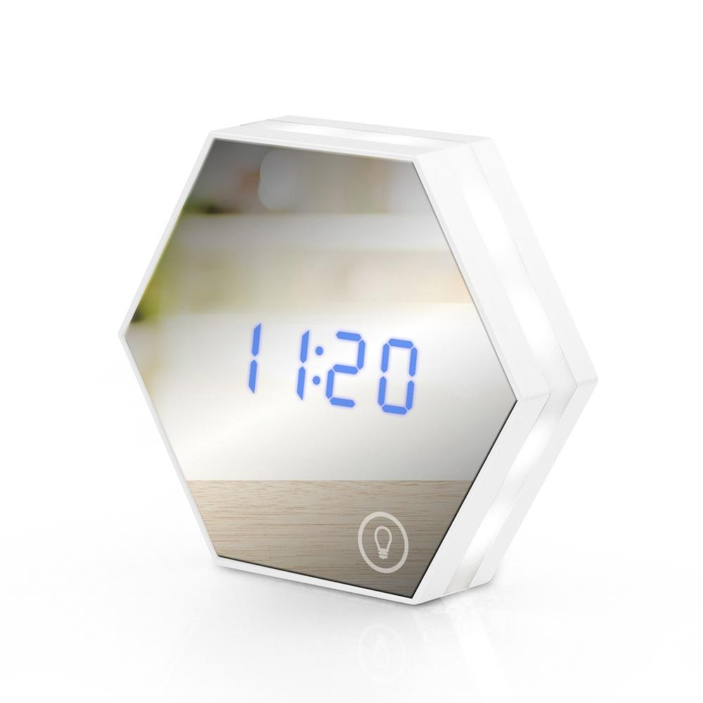 USB充電式 六角形可調光鏡子鬧鐘-白色