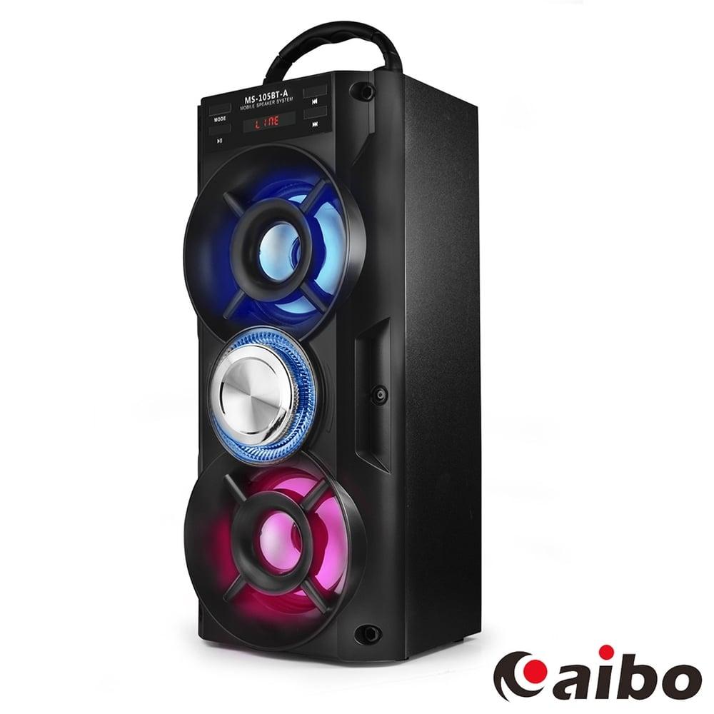 aibo L105 行動卡拉OK 手提木質無線藍牙喇叭(MIC/AUX/隨身碟/TF卡/FM)-黑色