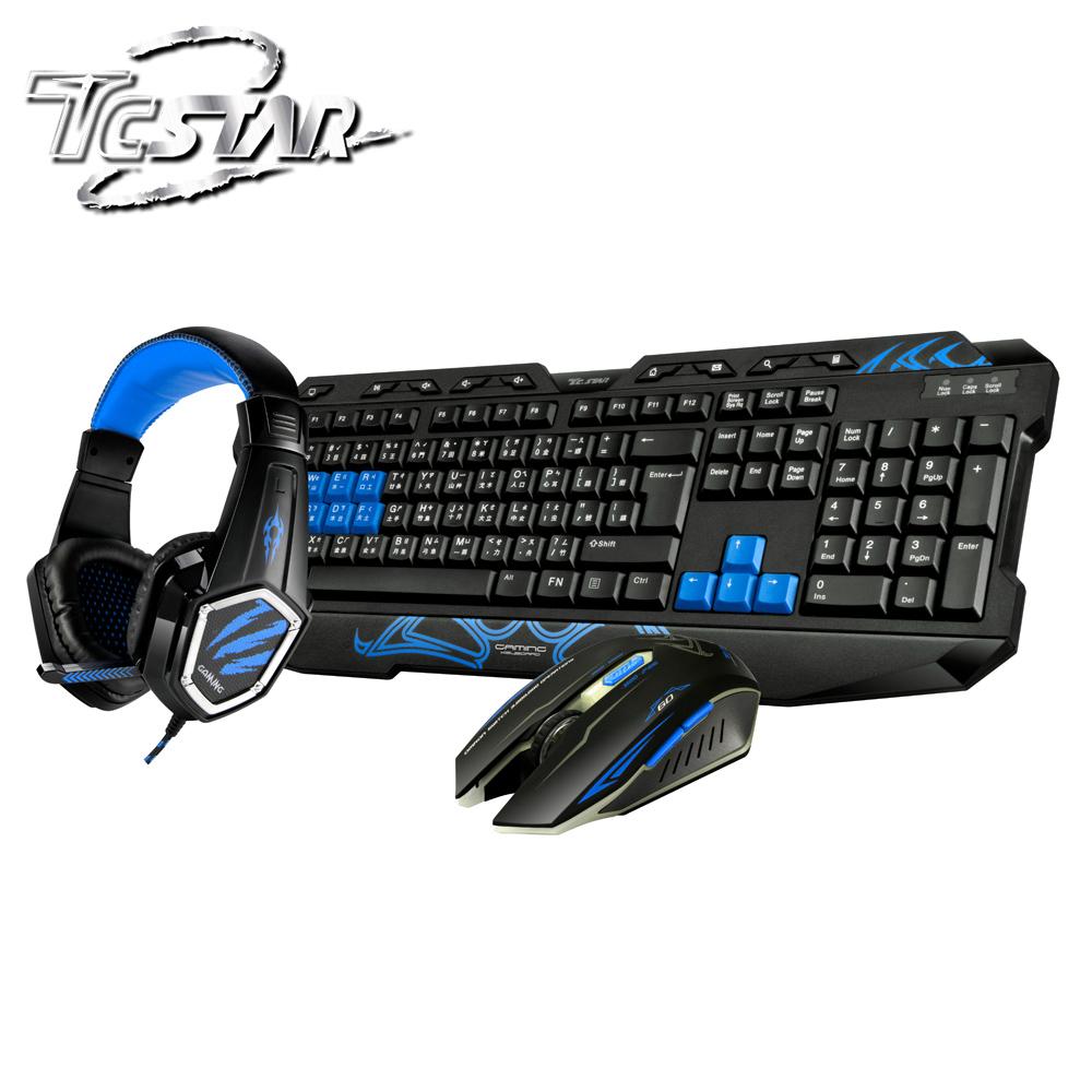 T.C.STAR USB有線電競鍵鼠組 KIT9908BU 藍色