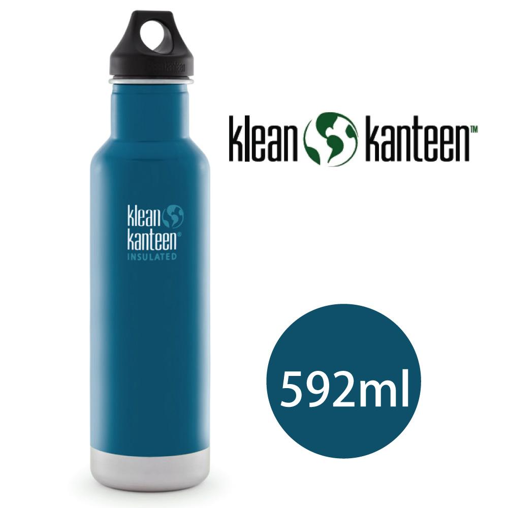【美國Klean Kanteen】窄口不鏽鋼保溫瓶-592ml-湖泊藍