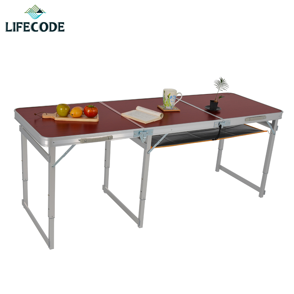 【LIFECODE】加固鋁合金折疊桌/野餐桌-送桌下網(三段高度)180x60cm-紅木紋