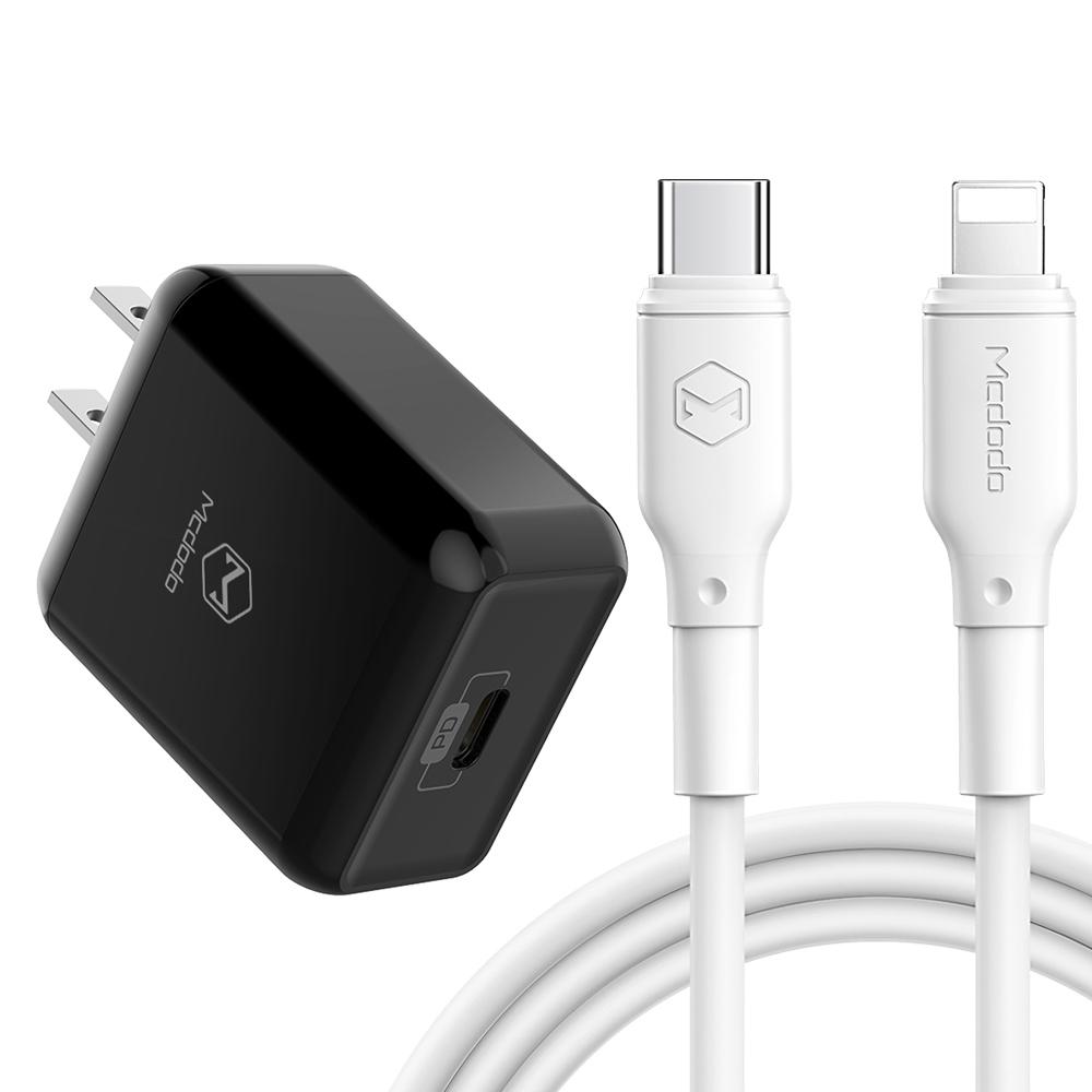 【Mcdodo台灣官方】PD/Lightning/Type-C/iPhone充電器充電線充電頭快充頭快充線 小白系列 麥多多 黑色充電頭+白色充電線